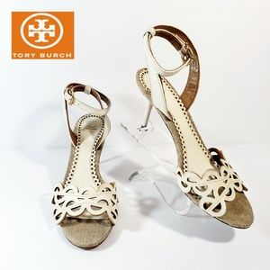 Tory Burch cut out ankle strap open toe heels 7